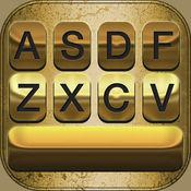 黄金键盘主题 – 五颜六色的背景和文本字体发光的表情图案