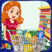妈妈超市购物 - 女孩店杂货与母亲及收银台付款 1