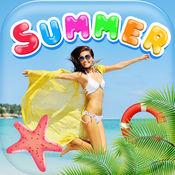 夏季贴纸 – 与框架和照片的邮票装饰你的夏季图片 1