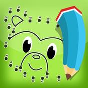 用数字漆儿童: 着色书, 与动物,大象,狐狸,考拉,狮子,猪和兔连接点