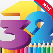 着色书: 123 撰写学习英语人数彩页玩教育游戏为孩子学步 1