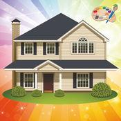 着色的网页:房子和城堡! - 着色的书为幼儿 - 儿童游戏 - 应