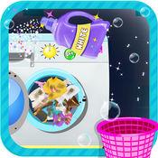 孩子洗衣洗清理和衣服洗的游戏