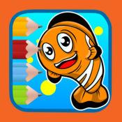 练习绘画和着色鱼动物幼儿园 1
