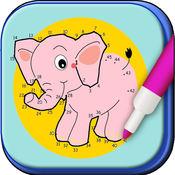 连接点和颜色 - 着色和绘画动物 - 着色书 1.3