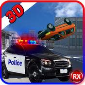 警车与窃贼驾驶的赛车与 - 抓捕劫匪被警察值班人员 1.1