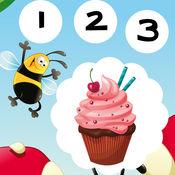 123 活跃! 游戏,学习计数 与cookies儿童 1