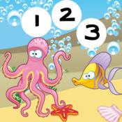 123兒童Animitiertes比桿賽:我們正在學習數學,玩,算上水下動
