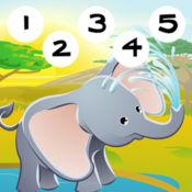 123游戏计数野生动物园卡通动物的孩子 - 免费的教育互动学