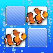 记忆游戏 海洋动物照片 - 孩子和年幼的孩子孩子儿童游戏幼
