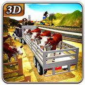 农场动物运输车卡车&牛交付3d 1