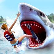 白色 鲨鱼 模拟器 游戏 : 蓝色 鲸 攻击 1