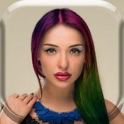 彩虹色发型 – 虚拟美容院以染发剂和假发效果 1