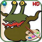 怪物图画书与儿童贴纸:24着色页怪物不要吓! 1.2