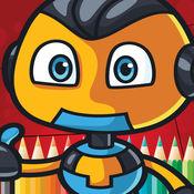 学龄前着色书游戏免费为孩子1-10岁:这些可爱的机器人变压器