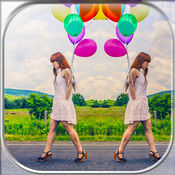 镜面效果照片拼贴制造商 – 真棒相机主编同标题和 对于画