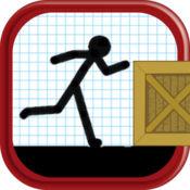 卡通火柴人:跳跃和奔跑在成功的道路上