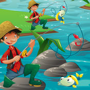 活动! 大小的游戏让孩子们学习和钓鱼和打的鱼