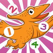 123活跃!儿童游戏与恐龙! 学习数 1-10的数字与恐龙,冰河时代,石器时代,灭绝的动物。对于幼儿园,幼儿园或托儿所