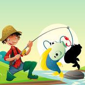 活动! 影游戏为孩子们学习和钓鱼和打的鱼