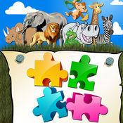 可爱的动物拼图 – 动砖解决的难题得到完整的图片 1