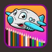 着色图画孩子绘画想法飞机比赛
