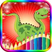 恐龙儿童着色书-教育游戏的孩子们与蹒跚学步