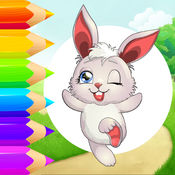 可爱的小兔子着色书为孩子