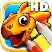 着色书为幼儿HD - 彩色化侏罗纪恐龙和石器时代动物