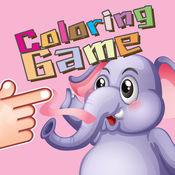 可爱的大象丛林着色书的孩子们