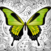 蝴蝶 和 花 - 艺术治疗 抗应激 着色簿 成人- 最好填色画册