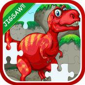 恐龙魔术拼图游戏的孩子们