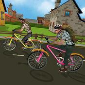 男孩学校自行车城市赛跑: 骑自行车到学校 1