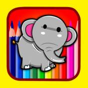 练习绘画和着色动物大象学前教育 1