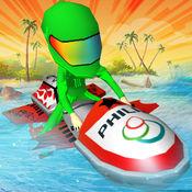 喷气滑雪下坡冲 - 乐趣jetski赛车为孩子