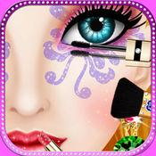女孩化妆沙龙 - 面部及眼部化妆的妈妈美容时尚沙龙