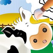 农场动物: 学习并着色