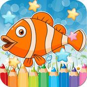 海洋动物绘图着色书 - 孩子们可爱的漫画人物艺术思想页