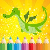 着色书 儿童: 如龙,青蛙和更多的幻想