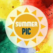 Summer Pic – 夏天,沙滩,大海,太阳, 的精美相框及贴纸