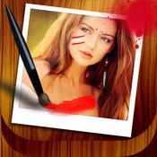 编辑器上乱写乱画的照片 – 绘制涂鸦和创造艺术在图像用手指