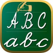手写输入工作表 abc 123 儿童教育游戏 学会字母表中的字母写在脚本和草书