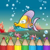 Underwater & sea animal Coloring Book for Kids: 着色书 儿童的水下生活:像美人鱼,海盗,龟,鱼和许多图像。免费,新,学习,幼儿园,学前班和学校!