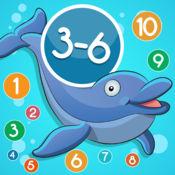 3-6岁儿童的海洋动物的数学游戏:了解数字1-20。有趣的游戏
