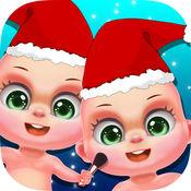 圣诞节双胞胎婴儿护理 - 可爱的小孩日托