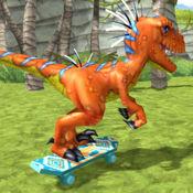 Jurassic Skate VelociRaptor. 恐龙游戏 滑冰冒险 为孩子们有趣的游戏 迅猛模拟器