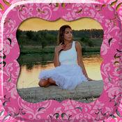 粉红色的相框女孩 - 与设计和贴纸可爱的图片编辑器 1