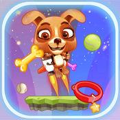 狗与喷气背包在太空中的 - 可爱的小狗 跑和跳街机游戏