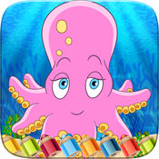 魅力海洋水色图书拉丝漆面着色游戏的孩子