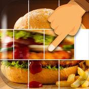 食品幻灯片块拼图 – 刷卡瓷磚移動和完整的图片 1
